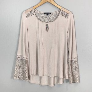 Cable & Gauge Lace Bell Sleeve Top
